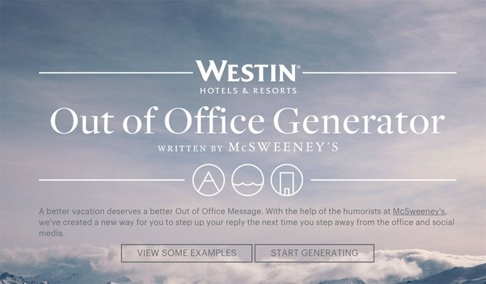 Westin out of office message