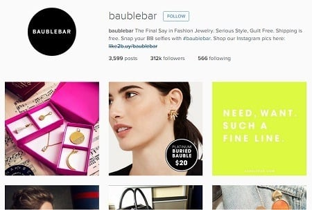 Instagram marketing BaubleBar