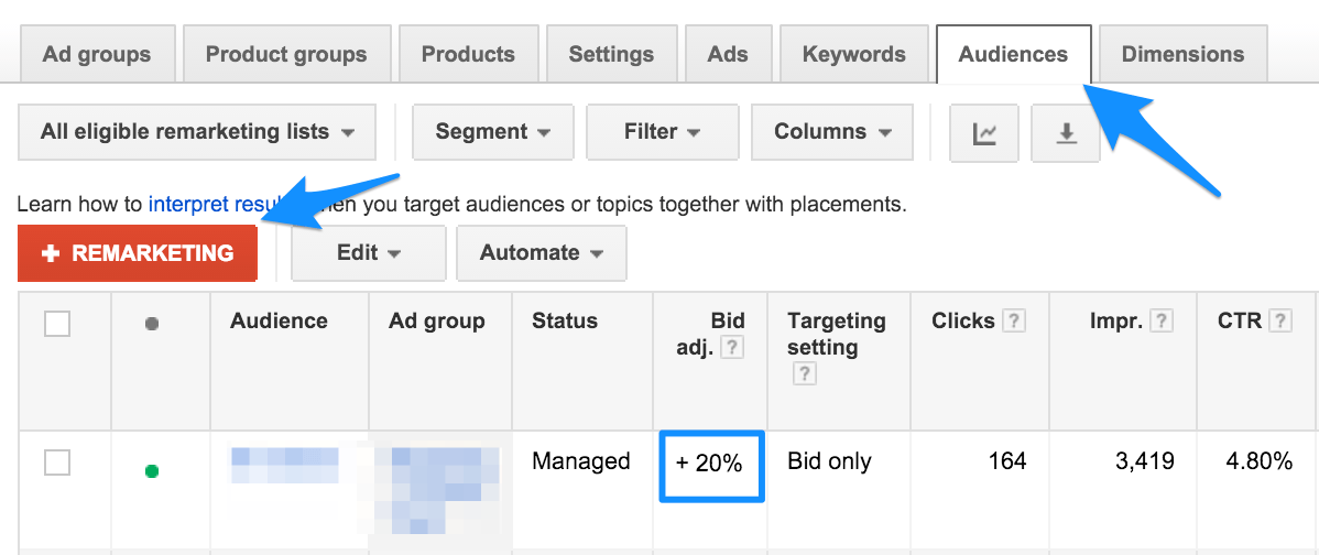 Retargeting in AdWords