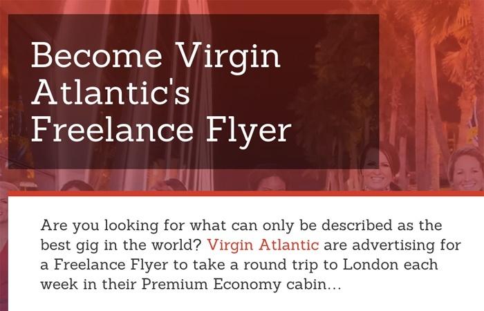 Virgin Atlantic Freelance Flyer