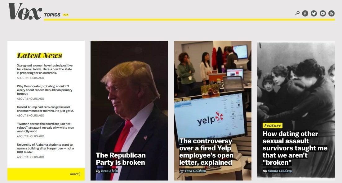 Vox website design