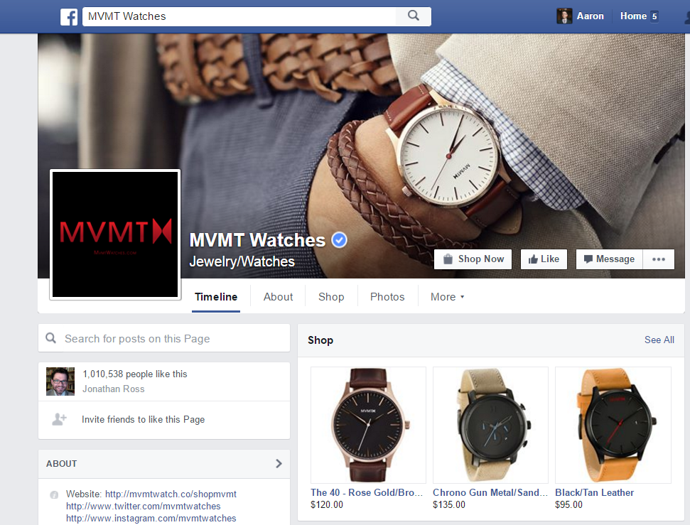 MVMT Facebook page strategy