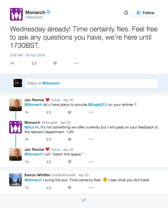 Monarch Twitter customer care