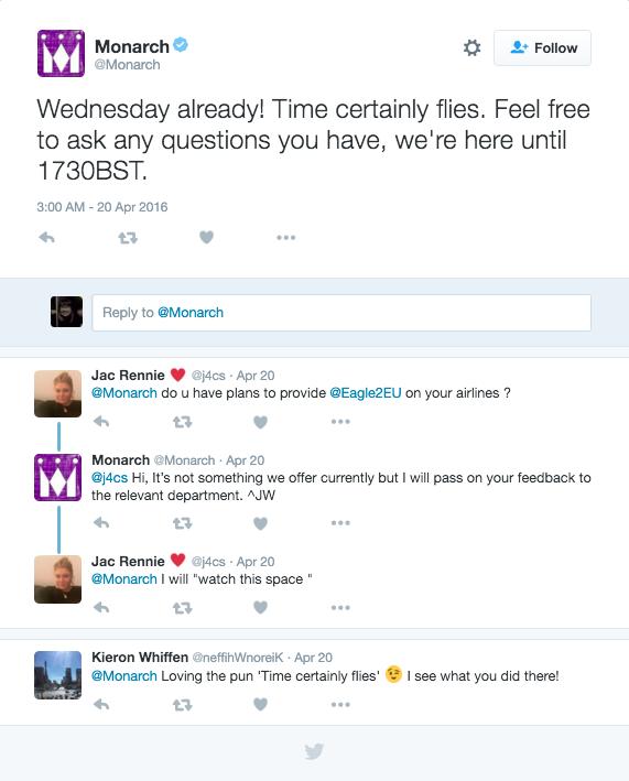 Monarch Twitter customer care