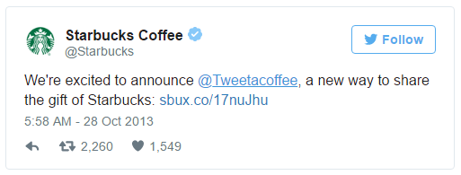 Starbucks Twitter promotion