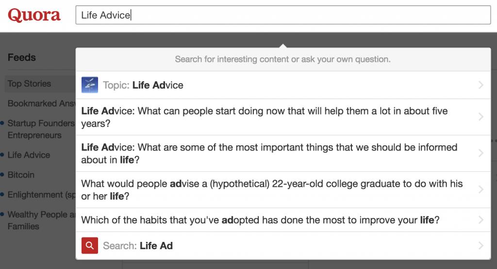 Quora for content ideas