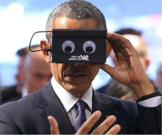 Obama using virtual reality headset