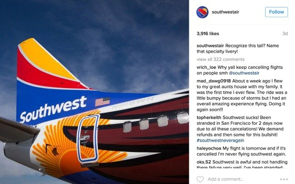 Southwest Social Media Crisis Instagram
