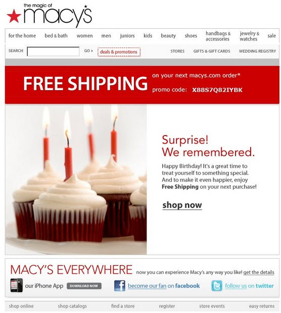 macys birthday email surprise