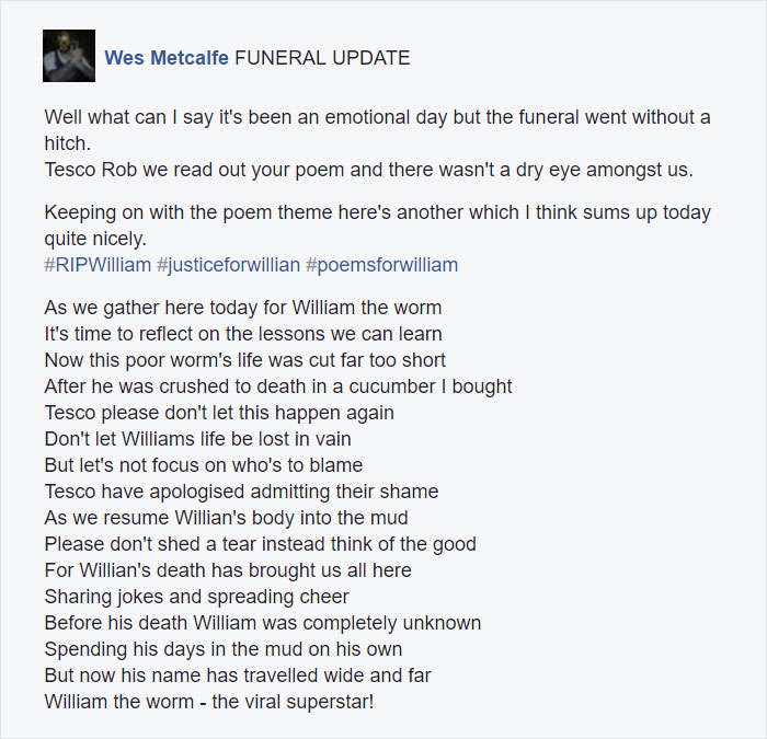 Tesco worm funeral