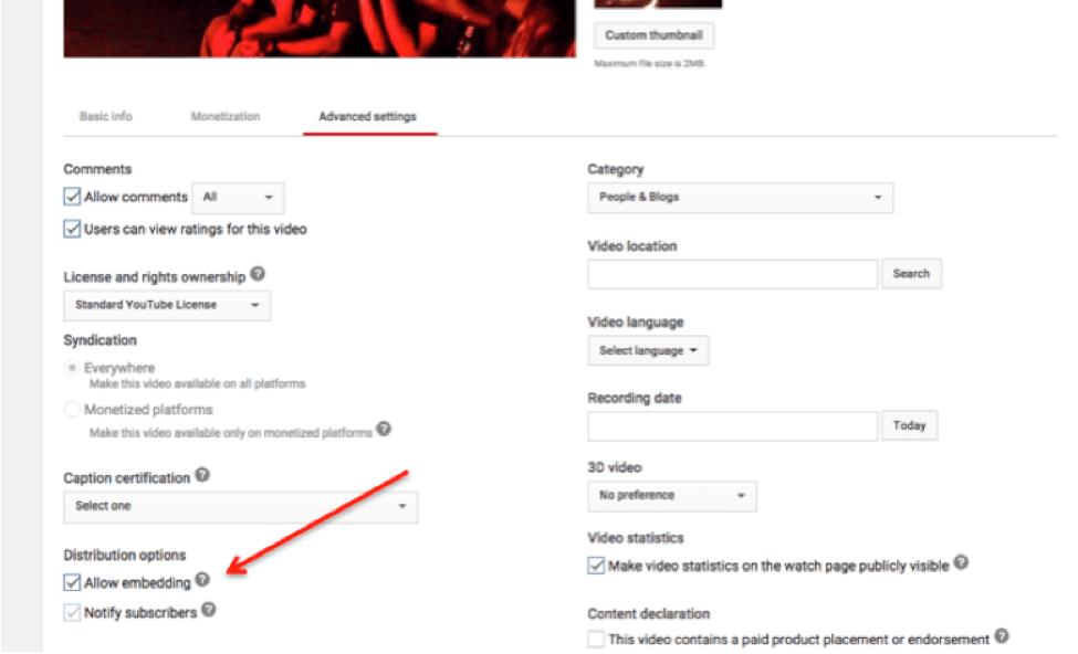 allow YouTube embedding