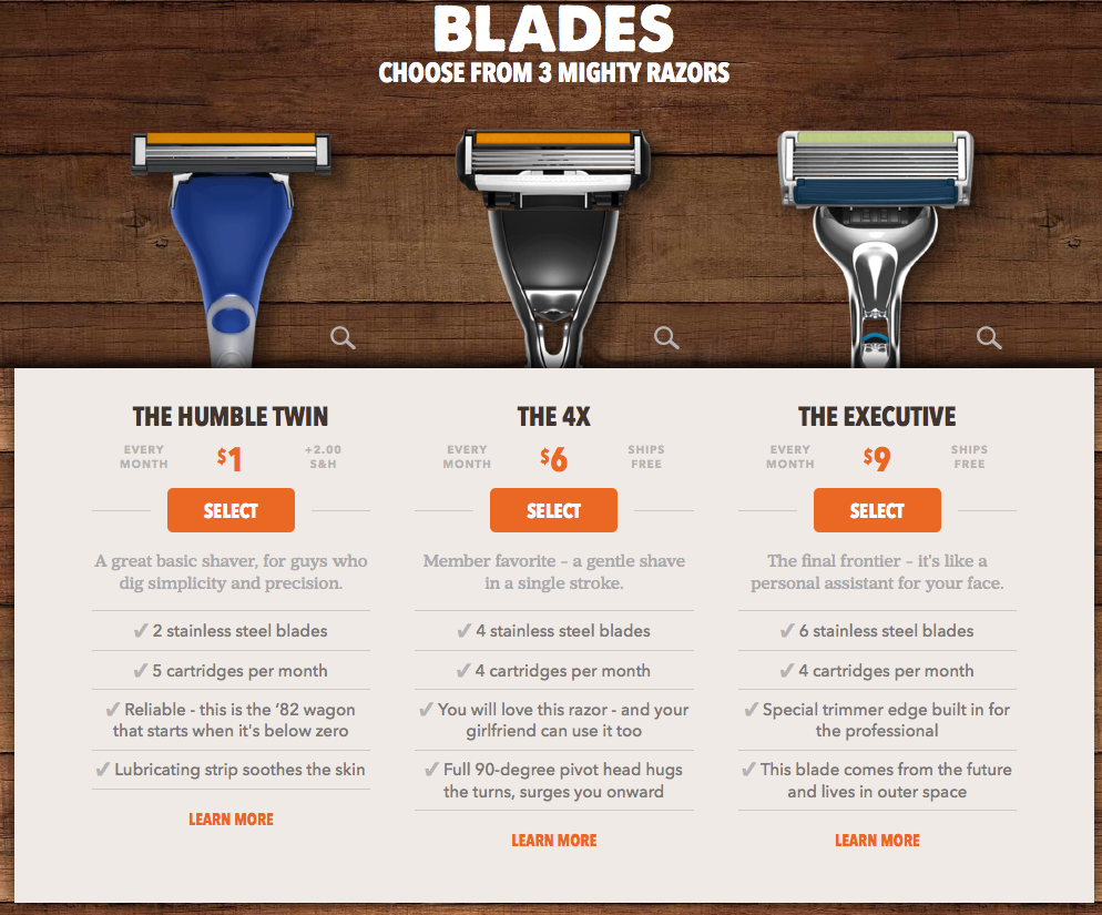 Dollar Shave Club upselling strategy