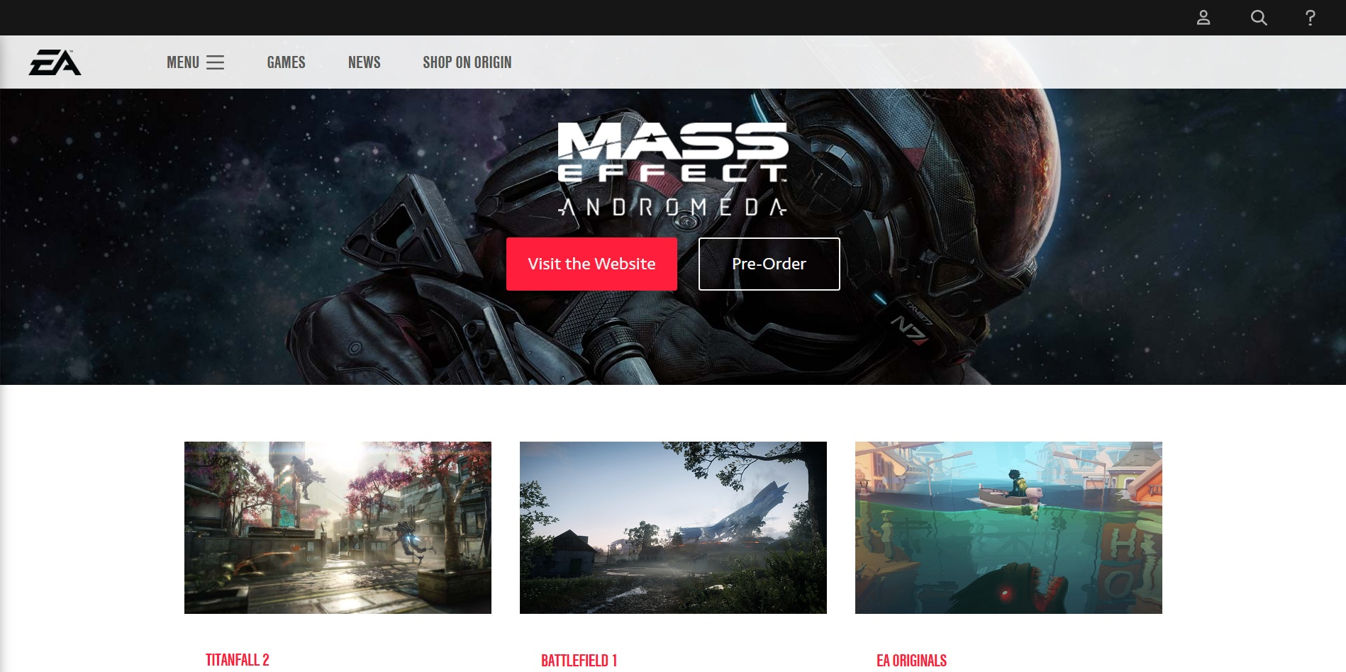 Electronic Arts simple home page increases sales