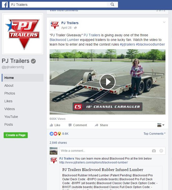 PJ Trailers and Blackwood Lumber Facebook timeline video sweepstakes