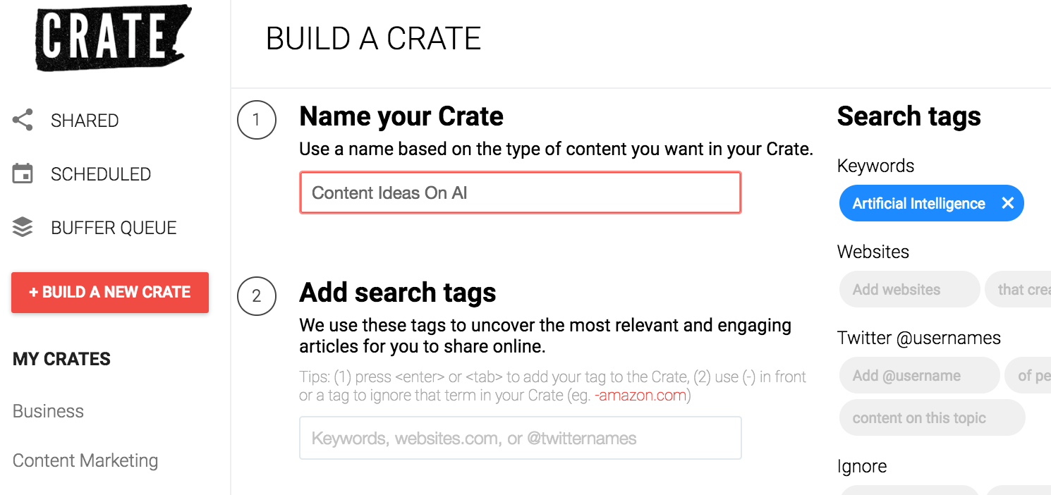 crate content curation