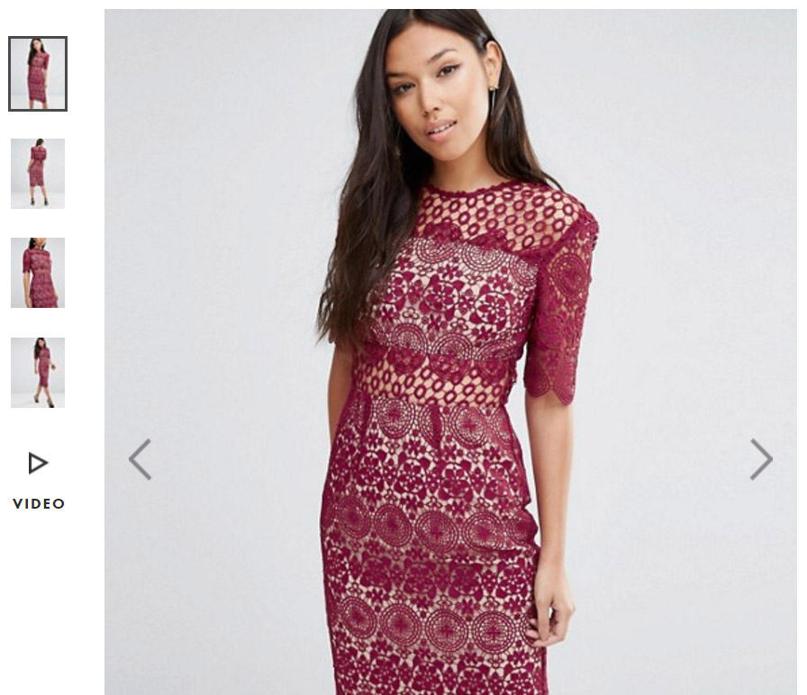Asos uses video on product sales pages
