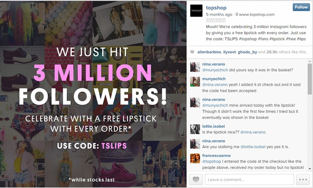 Example of Instagram special offer from Topshop