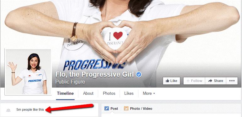 Flo the Progressive Girl Facebook follower count