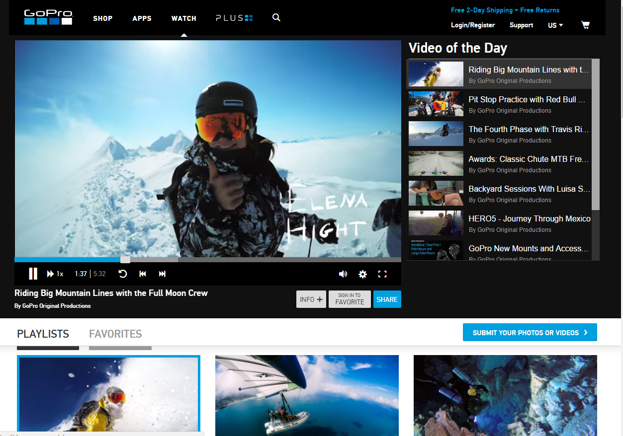 GoPro Watch Channel for user-generated video content