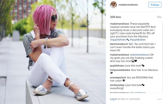 Instagram influencer offering promo code