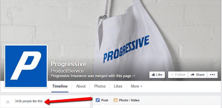 Progressive Insurance Facebook follower count