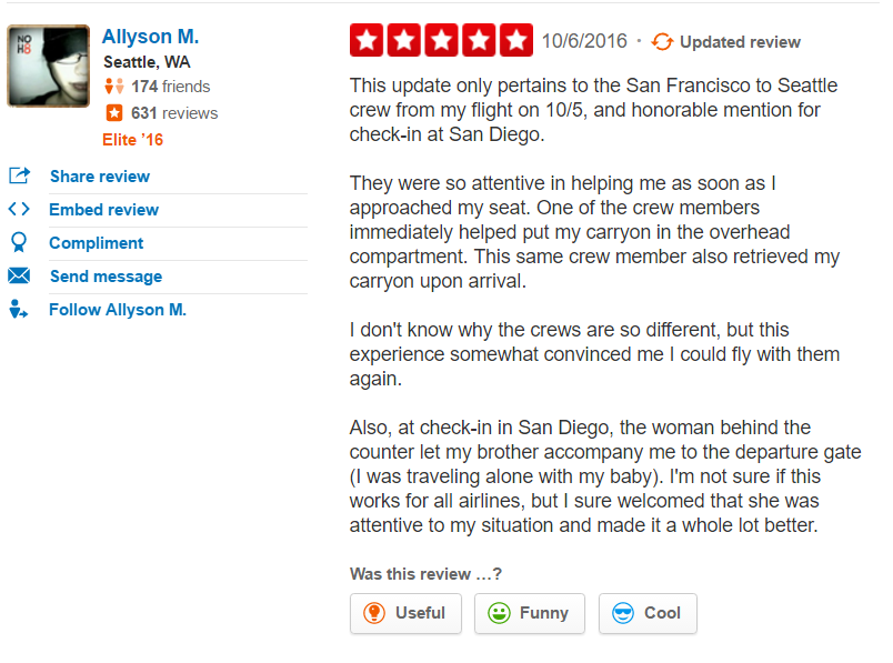 Virgin Airlines Yelp review