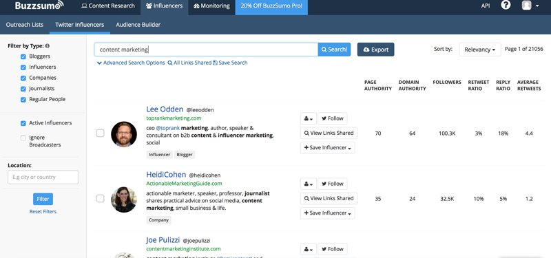 BuzzSumo influencer identification
