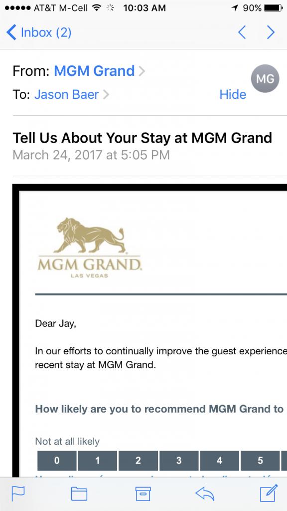 MGM NPS survey mobile