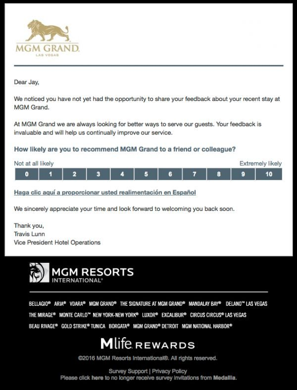 MGM NPS survey reminder