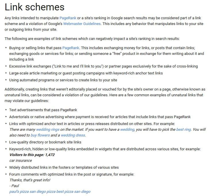 Google definition of link scheme