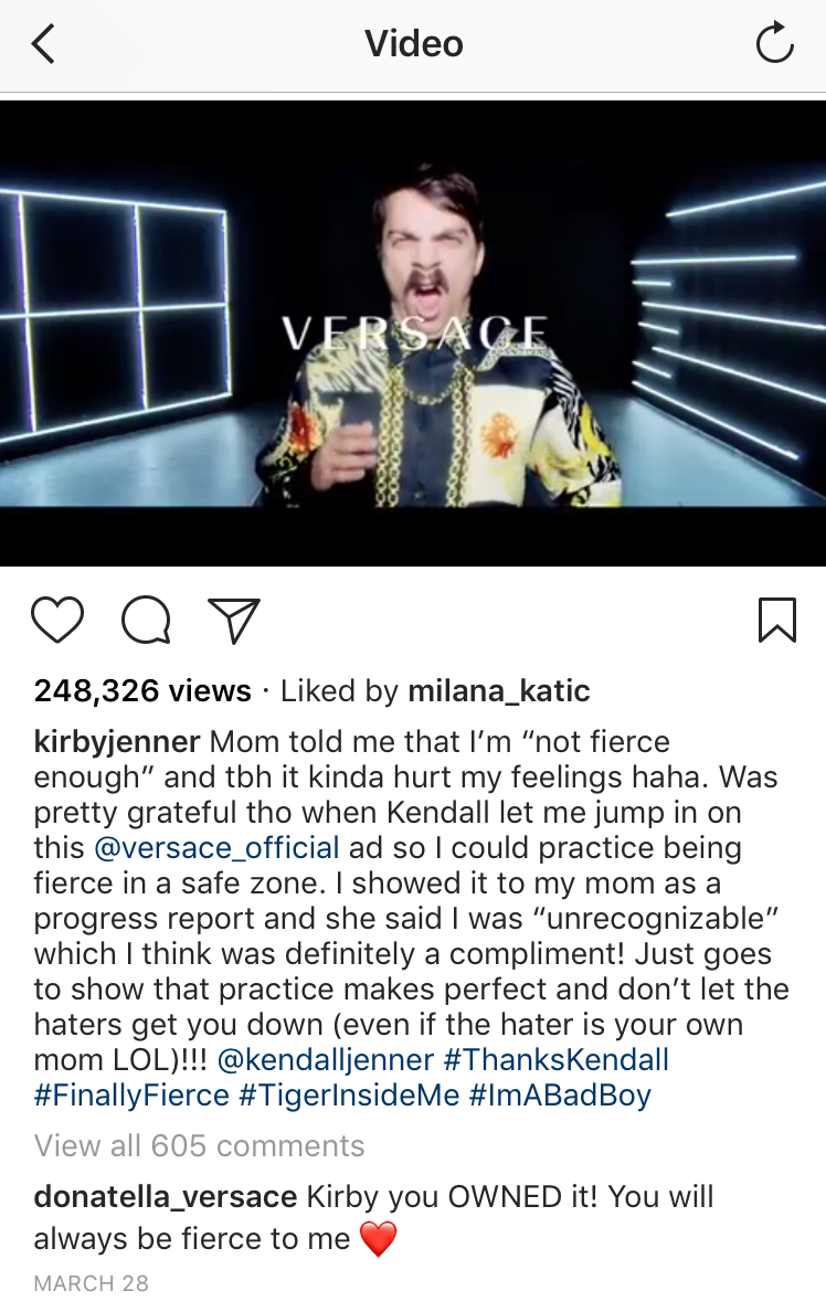 Kirby Jenner in Versace Instagram spoof