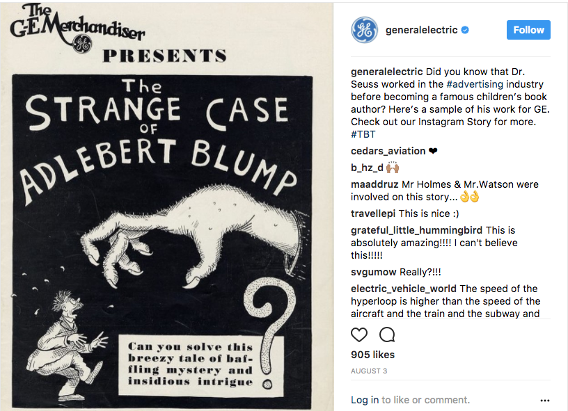 General Electric company history Instagram post