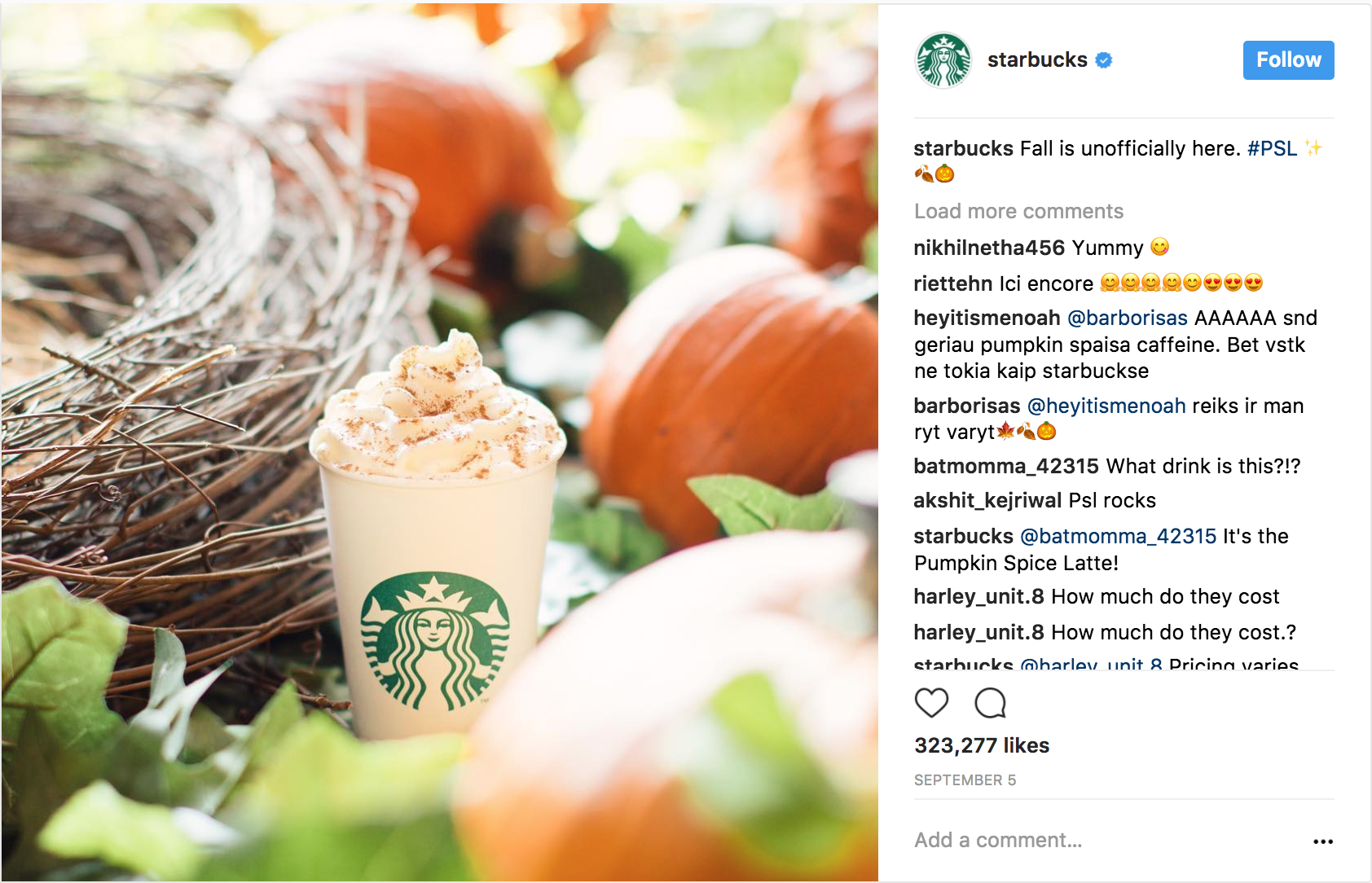 Starbucks TheRealPSL Instagram account