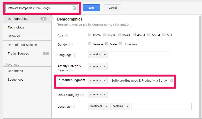 Google Analytics segmentation 2