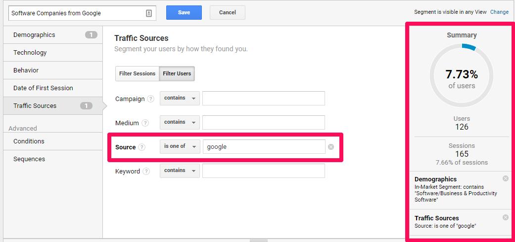 Google Analytics segmentation 3