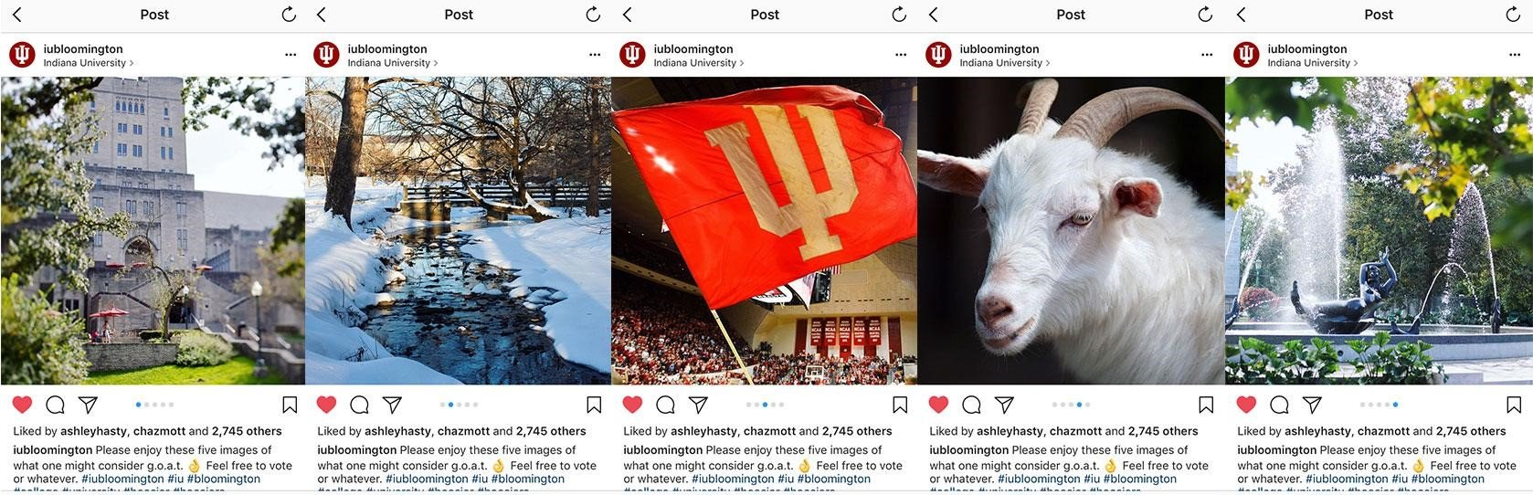 Indiana University Instagram slideshow