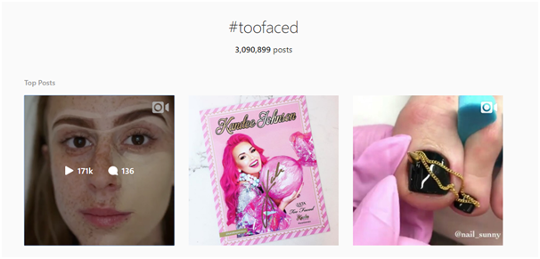 Too Faced Instagram branded hashtags