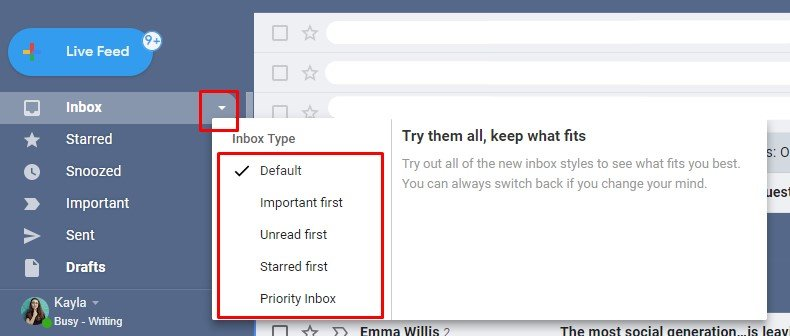 Gmail users can try out a Priority inbox that combines Starred, Important and Unread emails