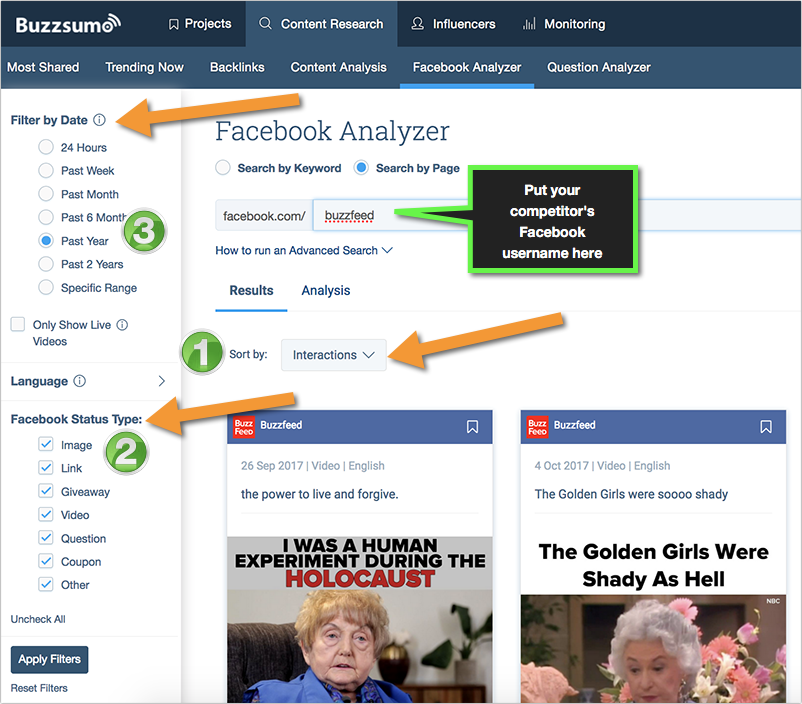 buzzsumo facebook competitive