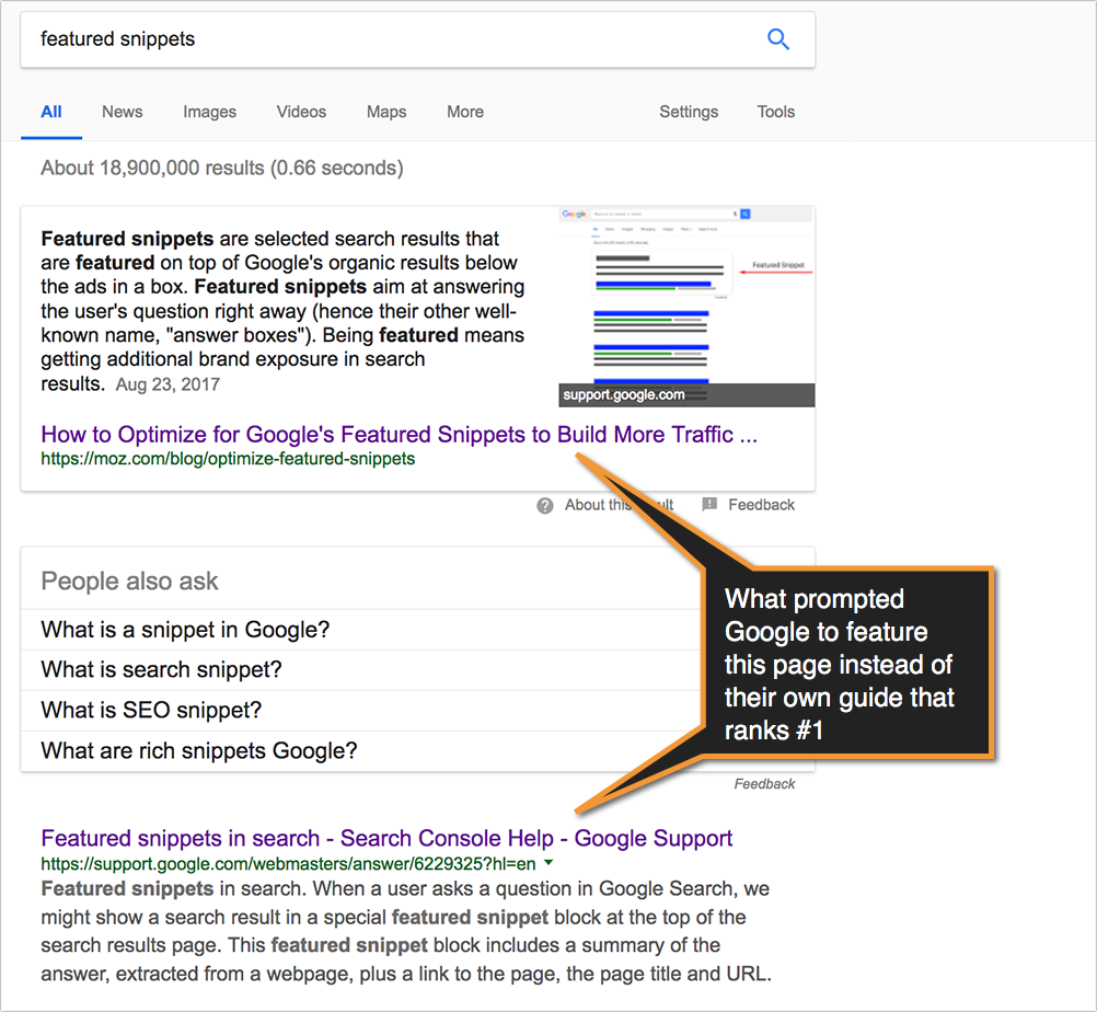 featured snippets example