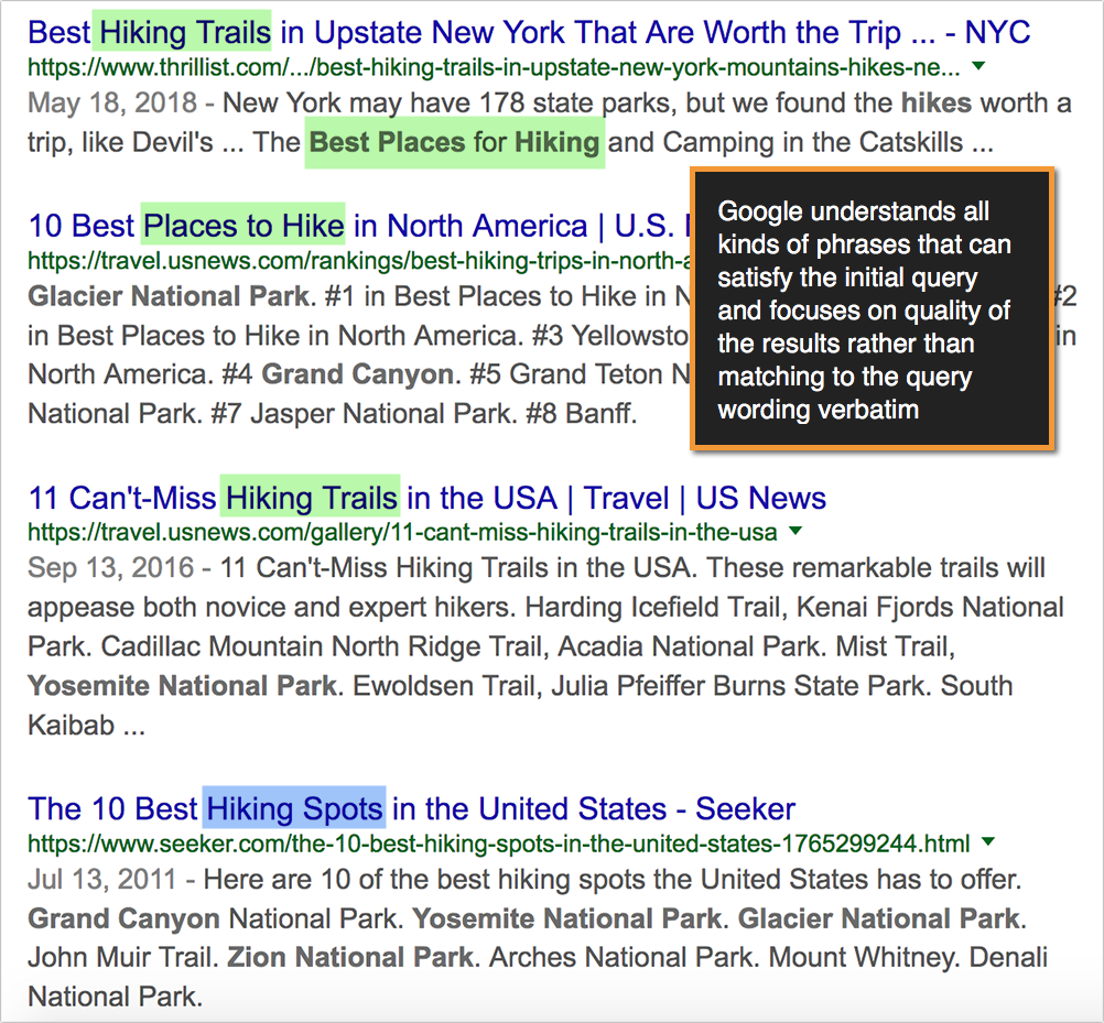 search results hiking example