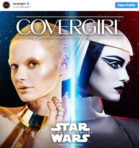 covergirl star wars brand partnership instagram post