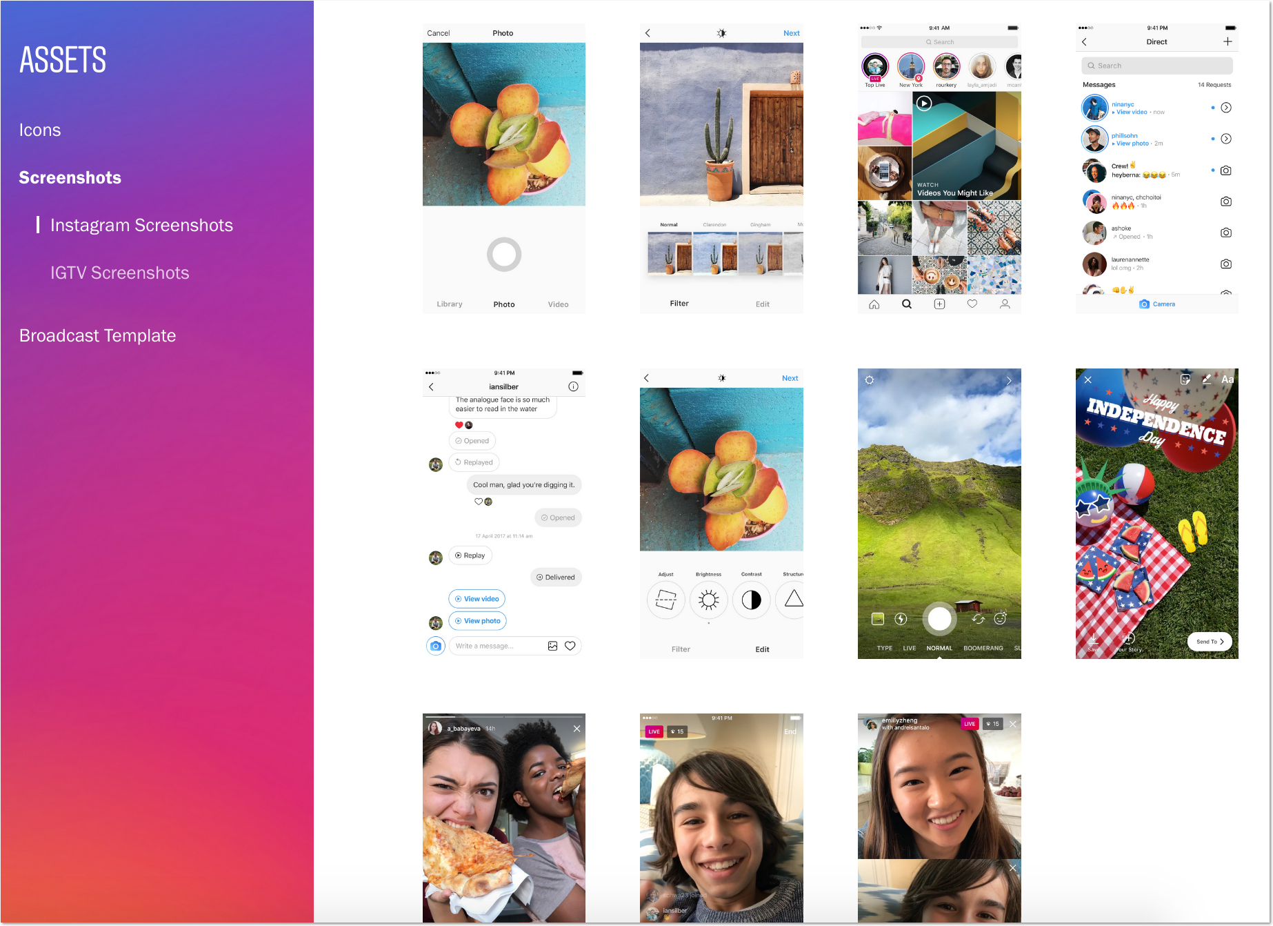 Style Guide/Assets example for a press page from instagram