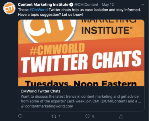 Content Marketing World Twitter Chat
