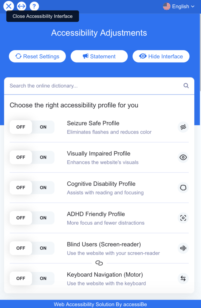 accessiBe accessibility adjustment example