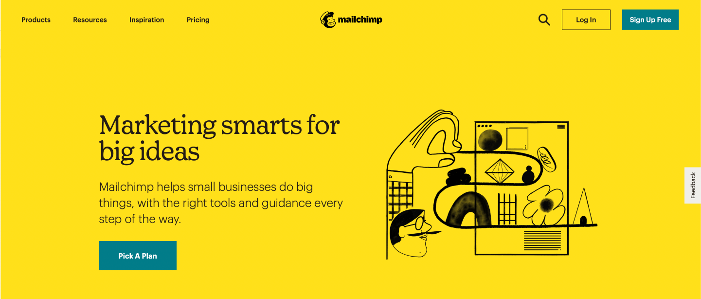 Example of Illustration in Content Marketing from Mailchimp