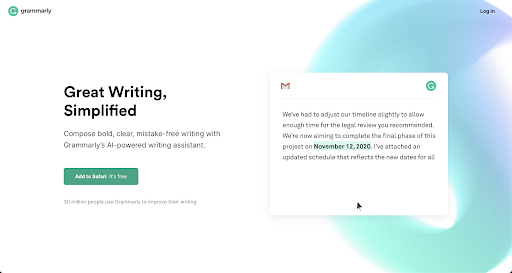 Screenshot of Grammarly