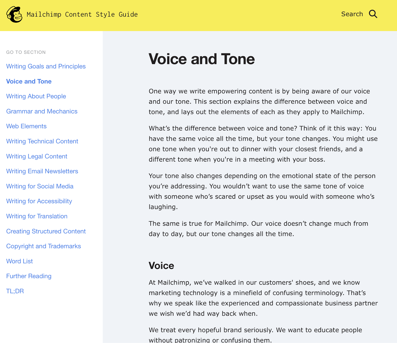 Voice and Tone Example from Mailchimp