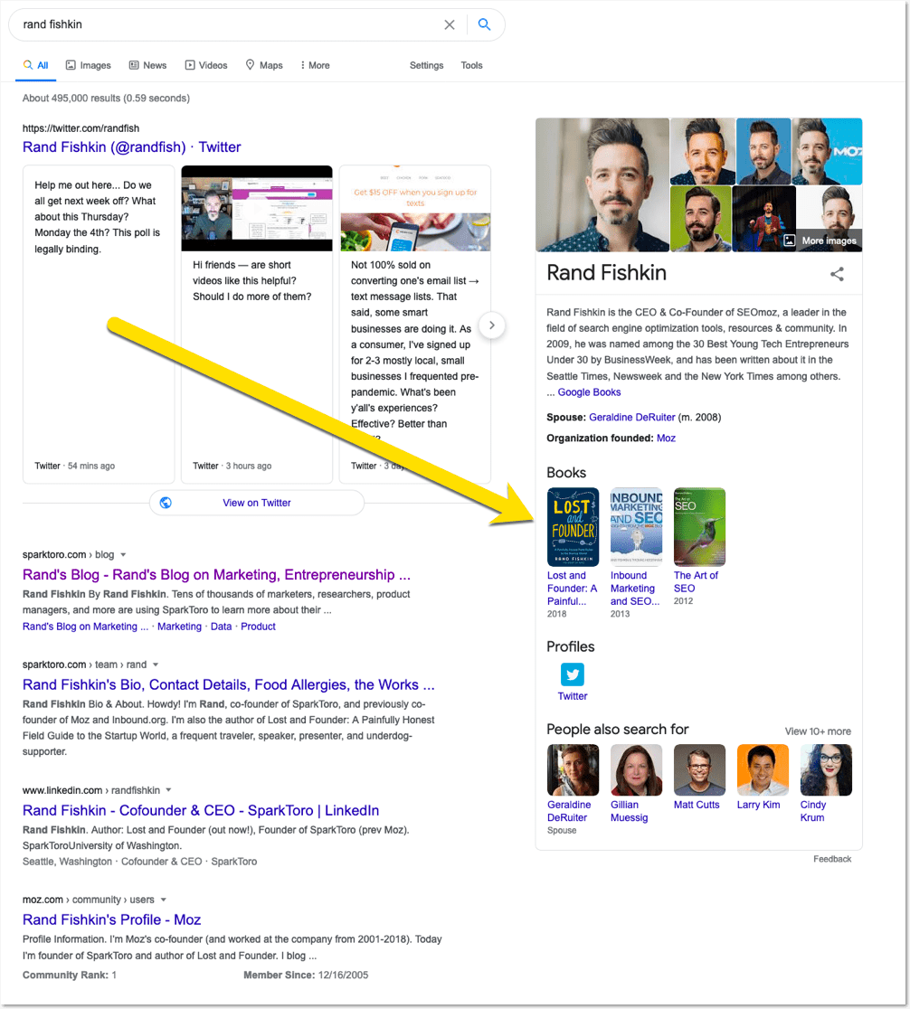 Google treats Rand Fishkin as a brand and shows a Knowledge Graph for his name.