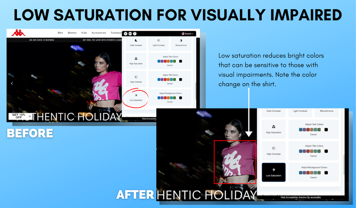 Low Saturation Visually Impaired Website Example